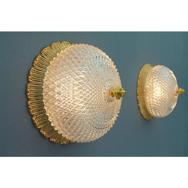 Metal One of Four Limburg Wall Sconces With Textured Glass and Gilded Brass, 1970s For Sale - Image 7 of 9