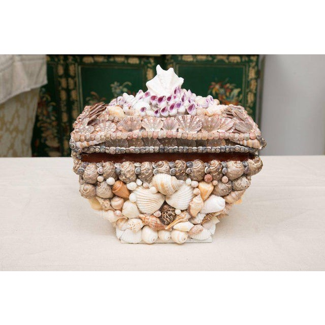 Arts & Crafts Shell Encrusted Lidded Box For Sale - Image 3 of 10