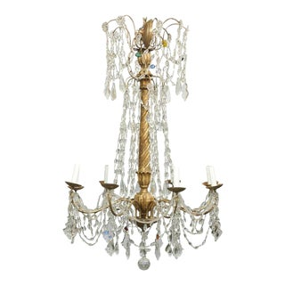 Italian Eight-Light Crystal and Giltwood Chandelier from the Early 20th Century