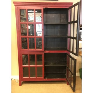 20th Century Arts and CraftsPainted Red Wall Cabinet With Glass Doors Preview