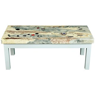 1950s Rose, Pink and Grey Marbleized Concrete Coffee Table, Italy For Sale