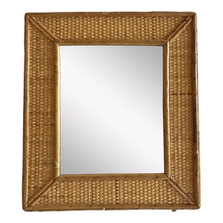Vintage Raymor Style Rattan Bamboo Tabletop Mirror For Sale
