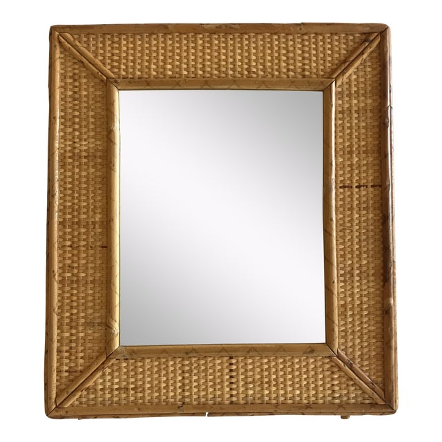 Vintage Raymor Style Rattan Bamboo Tabletop Mirror For