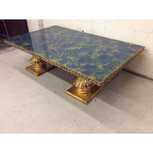 Hollywood Regency Monumental Italian Gold Gilt Carved Wood & Painted Glass Top Coffee Table For Sale - Image 3 of 11