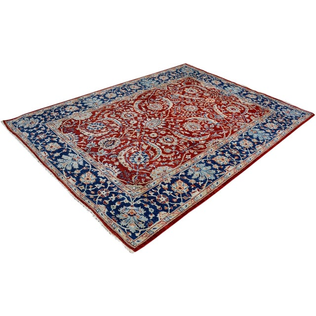 Kafkaz Peshawar Abe Rust/Blue Hand-Knotted Rug - 6'0 X 7'11 For Sale