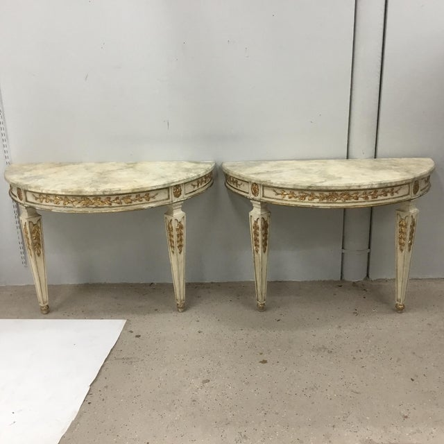 1920s Italian Painted Carved and Gilt Demi Lune Console Tables - a Pair For Sale - Image 13 of 13