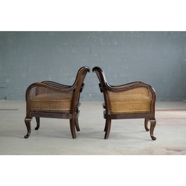 Pair of Danish Early 20th Century Caned Library Bergère Chair in Stained Birch - Image 7 of 10