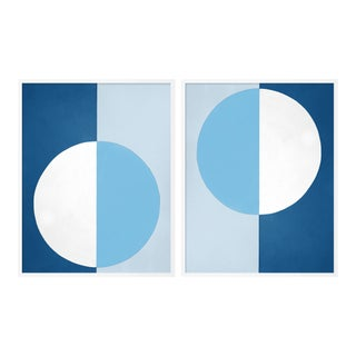 Blue & White Forever Diptych by Stephanie Henderson in White Frame, Medium Art Print For Sale