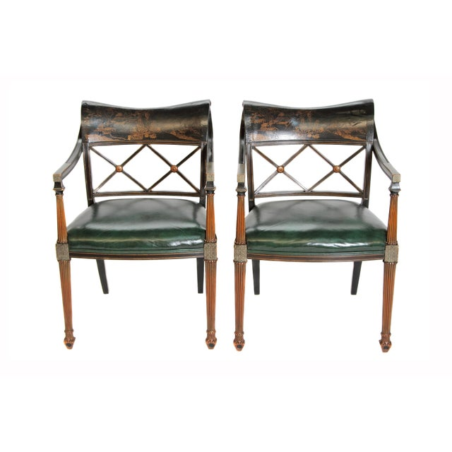 Pair of Regency Style Lacquer Arm Chairs For Sale - Image 12 of 13