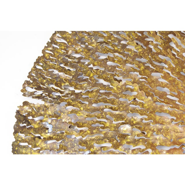 Abstract Bronze and Gold Iron Seaweed Wall Sculpture For Sale - Image 3 of 6