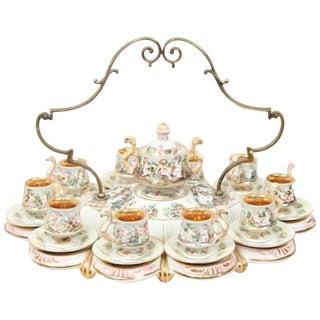 Mid-20th Century Capodimonte Porcelain Demitasse Tea Service for Ten For Sale