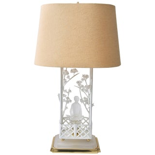 Chinoiserie Motif Table Lamp With Satin Glass Mandarin and Cherry Flowers For Sale