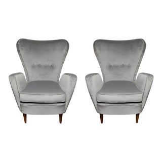 Pair of Vintage Italian High Back Chairs For Sale