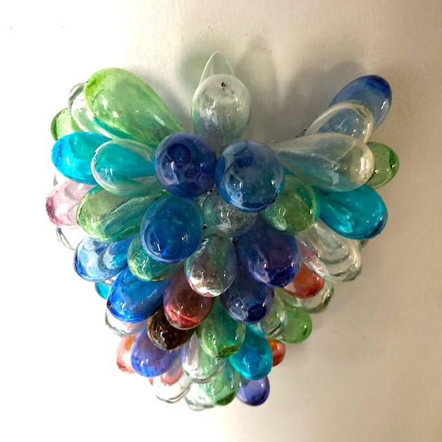 Colorful Wall Sconce Fixture of Recycle Hand Blown Glass For Sale - Image 9 of 11