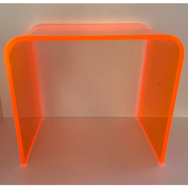 "Mid-Century Modern ""The Side Piece"" Side Table in Neon Orange For Sale - Image 3 of 7"