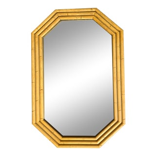 Mid-Century Modern French Faux Bamboo Wooden Mirror For Sale