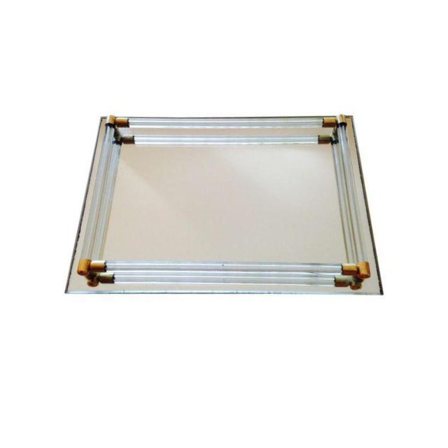 Vintage Lucite & Brass Mirrored Tray - Image 3 of 3