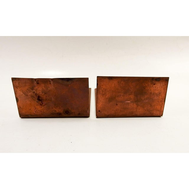 1930s Abstract Hand Made Scotty Dog Etched Copper Bookends - a Pair For Sale - Image 4 of 5