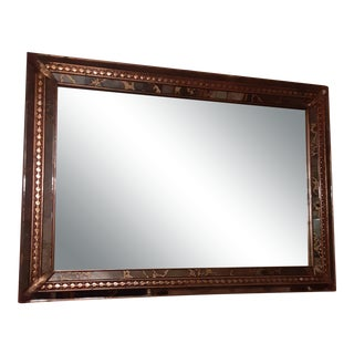 1990s Custom Designer Faux Dark Emperador Marble and Gold Wall Mirror For Sale