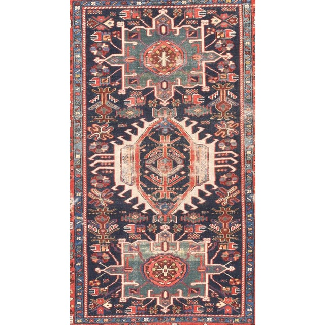 Persian Antique Hand Made Karajeh Persian Rug- 4′7″ × 6′3″ For Sale - Image 3 of 5