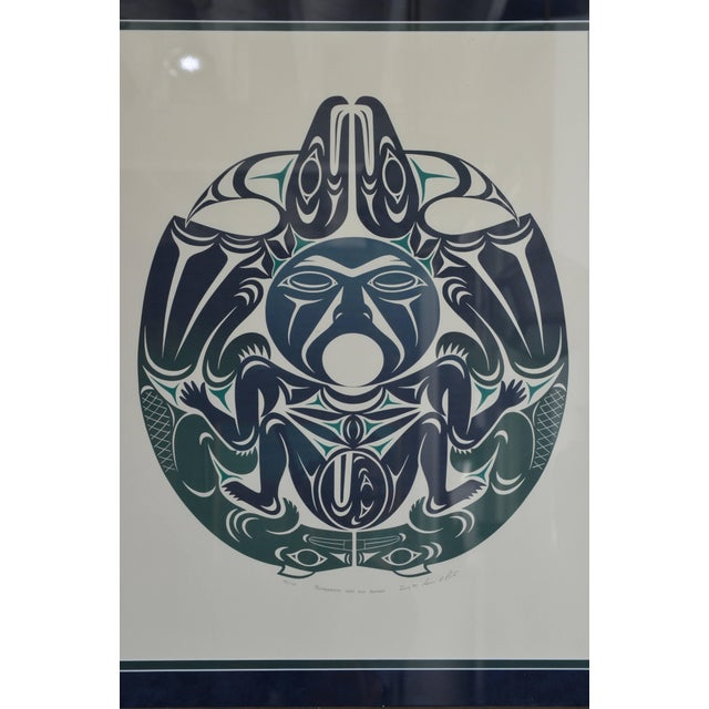 Thunderbirds Man and Beavers', July 1989. Signed and numbered 95/120. Large Framed First Nations Print by Susan Point....