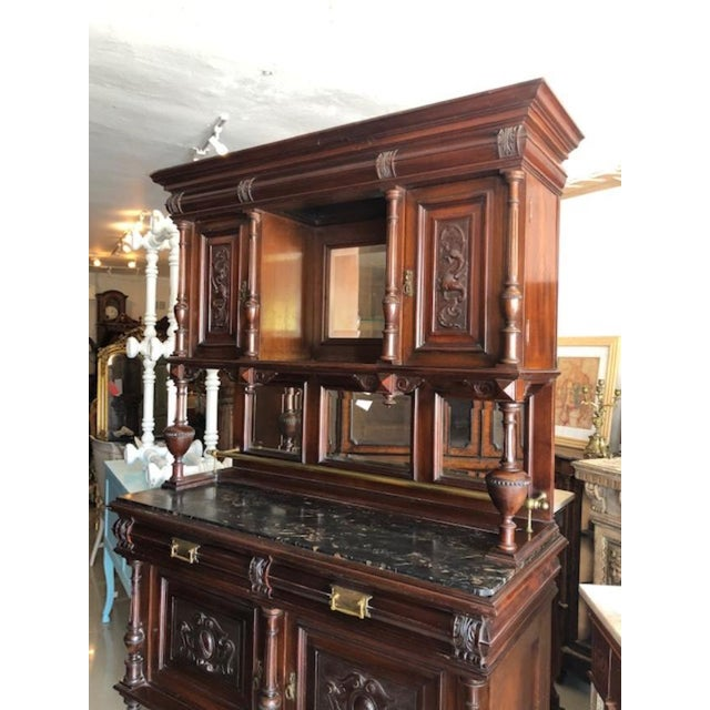 Antique French Marble Top Cupboard Server For Sale - Image 4 of 8