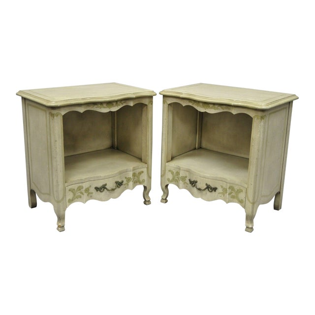 John Widdicomb Country French Provincial Cream Paint Nightstands - a Pair For Sale