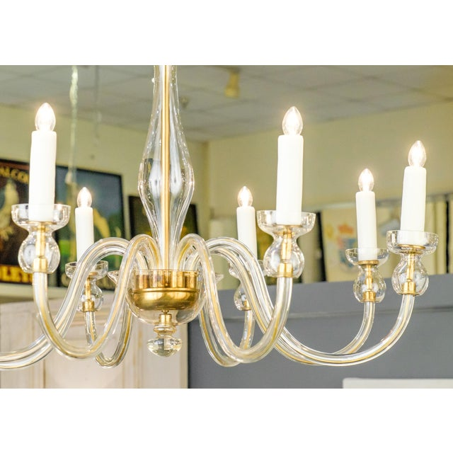 1960s Murano Amber Glass Eight-Arm Chandelier For Sale - Image 5 of 11