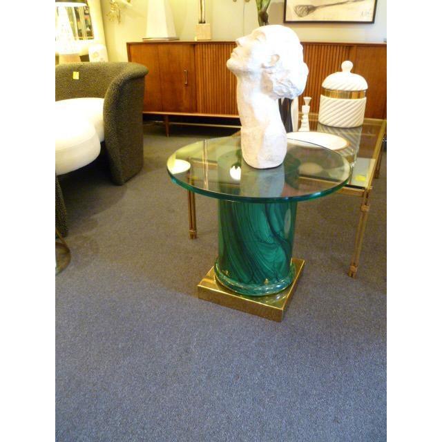 Sleek Modern Classic Malachite Column Side Table - Image 8 of 8
