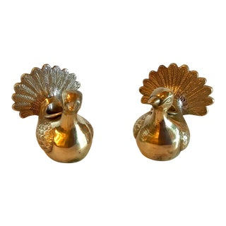 Vintage Brass Figural Chicken Candle Holders - a Pair For Sale