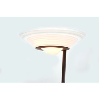 Vintage Postmodern Halogen Torchiere With Stepped Glass Shade Preview