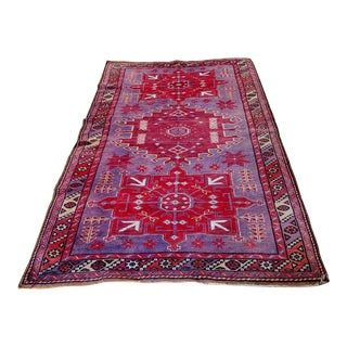 Mid Century Pink and Purple Heriz Rug For Sale