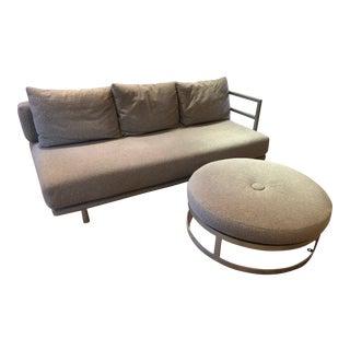 Modern Sleek Sofa & Ottoman - a Pair For Sale
