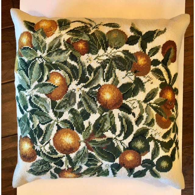 Citrus Oranges Needlepoint Pillow For Sale - Image 4 of 4