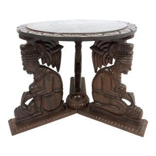 Tribal Hardwood Three Man Tiki Cigar Side Table With Ashtray For Sale