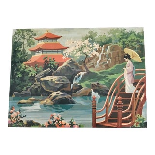 1960s Vintage Japanese Landscape With Geisha Paint by Number Painting For Sale