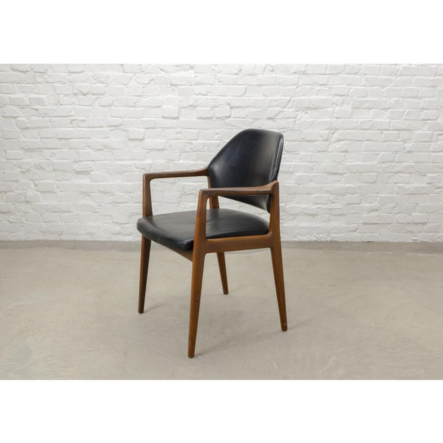 Mid-Century Modern Mid-Century Scandinavian Design Teak Wood and Leather Side / Desk Chair, 1960s For Sale - Image 3 of 11