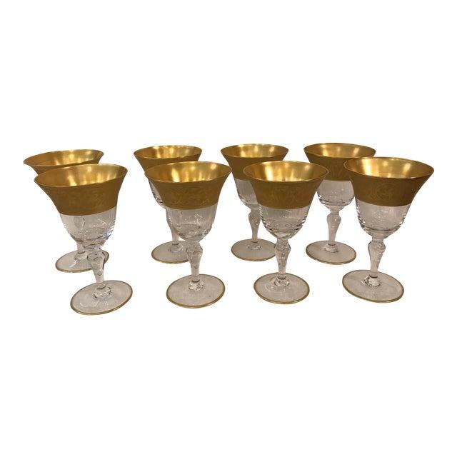 6af1f188a48 Vintage Gold Rim Wine Glasses - Set of 8 For Sale