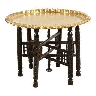Vintage Moroccan Etched Brass Round Tray Table For Sale