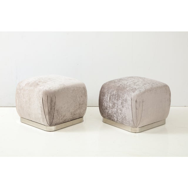 Karl Springer Souffle Ottomans or Poufs by Karl Springer - a Pair For Sale - Image 4 of 10