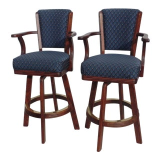 Mikhail Darafeev Solid Wood & Cushioned Swivel Bar Stools - A Pair