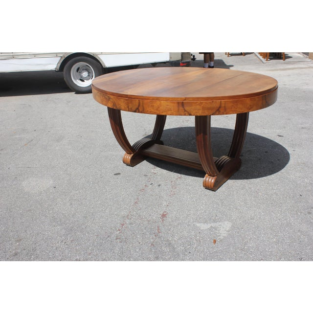 Walnut French Art Deco Solid Walnut Oval Dining Table ''U'' Legs Base Circa 1940s For Sale - Image 7 of 13