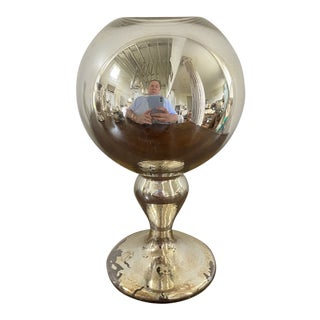 Antique Mercury Glass Butlers Ball Vase For Sale