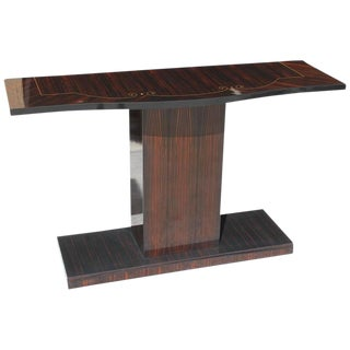 1940s Vintage Art Deco Macassar French Ebony Console Table For Sale