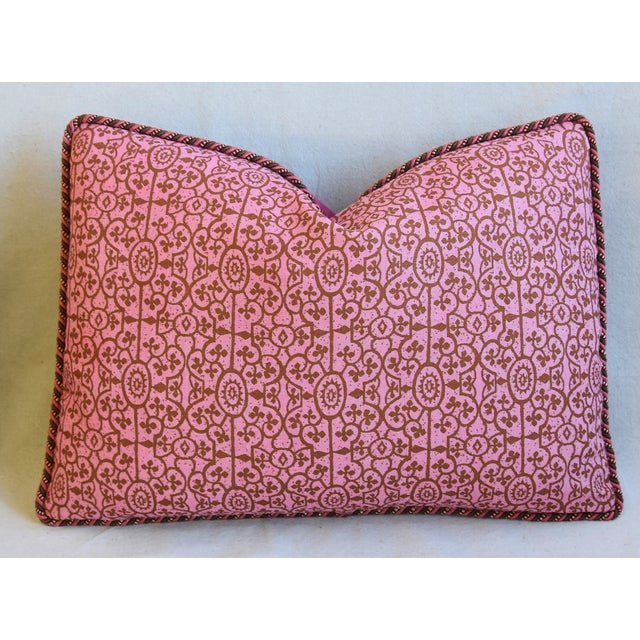 """Early 21st Century Designer Raoul Hand-Printed Linen & Velvet Feather/Down Pillows 23"""" X 17"""" - Pair For Sale - Image 5 of 13"""