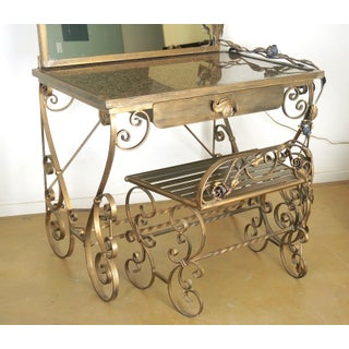 Wrought Iron Vanity & Mirror With Granite Table Top , Floral Accents & Coordinating Bench Preview