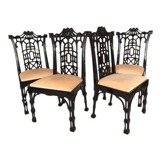 Black Lacquer Asian Chinoiserie Pagoda Dining Chairs - Set of 4