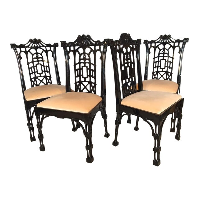 Black Lacquer Asian Chinoiserie Pagoda Dining Chairs - Set of 4 For Sale