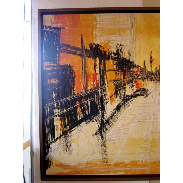 Mid 20th Century Mid-Century Modern Signed Van Hoople Modernist Industrial Abstract Landscape Impasto Style Oil on Canvas Painting For Sale - Image 5 of 9
