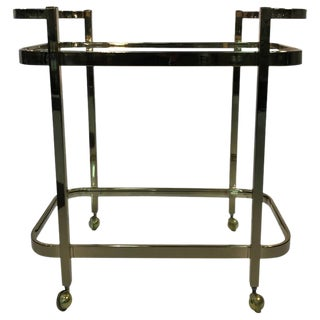 BEAUTIFUL TWO-TIER BRASS BAR CART BY MILO BAUGHMAN For Sale